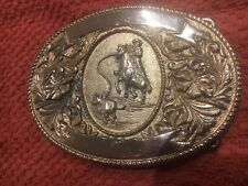 Vintage 1974 Ltc. Western Prod. Co. Cowboy Rodeo Calf Roper Belt Buckle