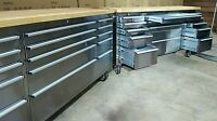 """72"""" Stainless tool chest with wooden work surface. In stock order now!!!"""