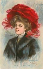 EH Kiefer~My Chum~Large Red Feather Hat~Brown Haired Beauty~Black Fur Coat~1908