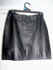 Genuine Vintage 100% leather Black  mini skirt size 10-12