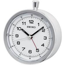 Seiko Round Dial Silent Sweep White Case Stopwatch Style Alarm Clock QHE088W