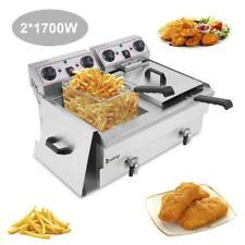 3400w 236l 25qt Electric Deep Fryer Commercial Restaurant Fry Basket 2 Tank