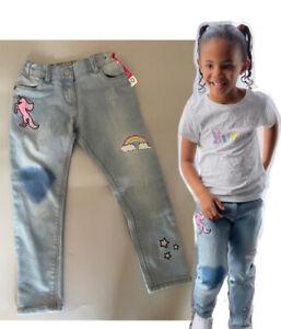 NEW girls ex nutmeg unicorn rainbow adjustable waist skinny jeans age 4-14 yrs