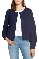 HALOGEN NEW $99 Blue Ponte Stretch Jacket Billowed Sleeves SP Small Petite