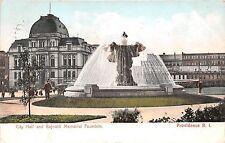 Rhode Island postcard Providence, City Hall and Bajnotti Memorial Fountain 1906