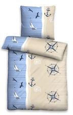 Bettwäsche 135x200 100% Baumwolle Seersucker 4tlg maritim Meer Strand blau beige