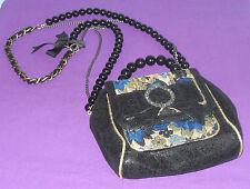 River Island Black Gold Patent Snakeskin ? Handbag Across Body Shoulder Bag VGC