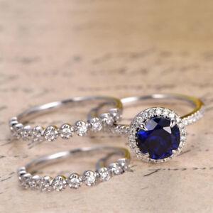 2.56 Carat Real Blue Sapphire Gemstone Trio Band Set real Diamond 14K White Gold