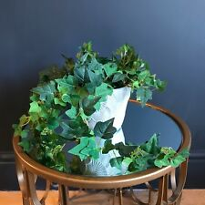 Potted Artificial Trailing Green Ivy Plant. Realistic Green Faux Silk Houseplant