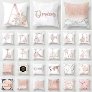 Rose Gold Geometric Letter Pattern Cushion Cover Sofa Throw Pillow Case Decor