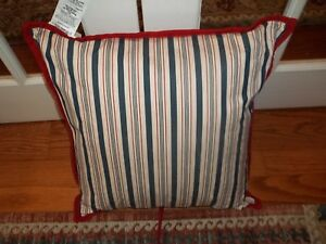 NWT Ralph Lauren Cote D'Azur Red/Cream/Blue Striped Decorative Bed Pillow 20x20