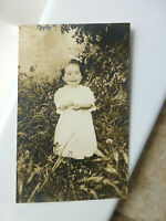 RPPC Happy Little Girl Tiny Teeth Nicely Composed Antique Real Photo Postcard