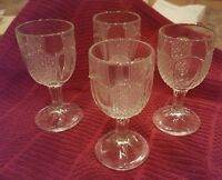 VINTAGE ♡ CLEAR GLASS  STEMMED  4 inch ♡ LIQUOR /SHOT GLASSES ♡ Set of 4