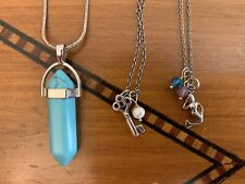 Turquoise Pentant Rock Key Mermaid Lot Of 3 Necklaces Metal Chains