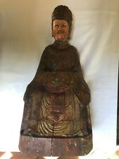 New listing Antique Chinese? Gold Gilt Hand Painted Wooden Courtesan 16.25� Statue