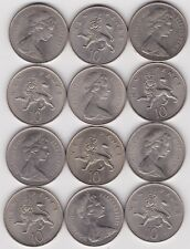 More details for 12 large ten new pence 1968 coins in near mint condition