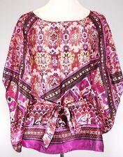 Soulmates Size M Satin Feel Kimono Blouse w/ Belt Multi Color Abstract Top