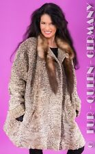 EUR size XXXL SUPER CHIC COLOR BROADTAIL PERSIAN LAMB LONG FUR JACKET w. bluefox