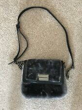 French Connection Fran Faux Fur Cross Body Small Grey Bag With Chain Strap