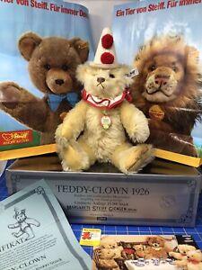 """Steiff TEDDY CLOWN BEAR * LE 003031 (1986) AUTOGRAPHED Mohair 13"""" (Replica 1926)"""