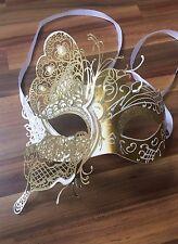 Masquerade Máscara Veneciana Filigrana De Oro/Plata Metal Diamonte Baile Baile de graduación fiesta