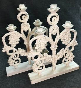 Pair Huge Cast Iron Candelabras Shabby Chic Grape Vine Home Decor Staging 17""
