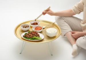 Seoul Landmark Pattern Gold Plate Coffee Table New Korea Antique Fordable Decor
