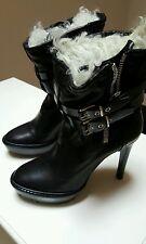 Burberry Black Biker Fur Platform Ankle Boots 38.5/8-8.5 US