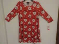 Womens Girls Christmas Dress Printed Santa Size Small New With Tags
