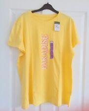 Ladies Women's Girls Primark Yellow Paradise Top T-Shirt Blouse Size XL 18-20