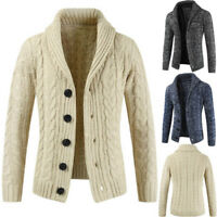 Mens Chunky Collar Cardigan Warm Sweater Shawl Knitted Coat Jacket Slim Fit Top