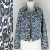 NWT D Jeans Gray & White Leopard Denim Jean Trucker Jacket Stretch Size S