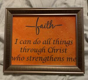 "8x10 Framed Canvas ""Faith I can do all things through Christ who strengthens me"""