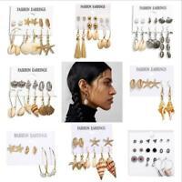Women Bohemian Pearl Beach Shell Ear Stud Earrings Hoop Fashion Jewelry