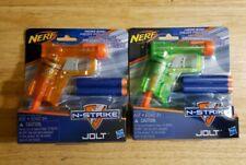 (2) Nerf N Strike Jolt Blaster Dart Gun 1 Orange & 1 Green w/ 2 Darts. NEW