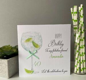 Personalised Handmade Female Birthday Card Gin Cocktail Sister Mum Daughter