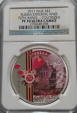 NGC Registry PF70 2011 Niue 70th RUSSIA ENTERING WWII Top Pop-5 SILVER 1oz RARE