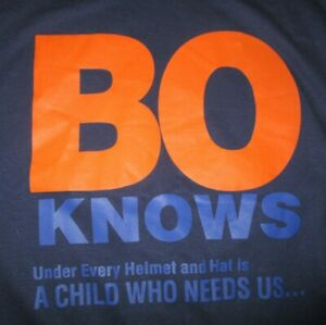 """BO JACKSON """"BO KNOWS Under Every Helmet .. Is A CHILD WHO NEEDS US"""" (LG) T-Shirt"""