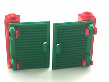 *NEW* 4 LEGO RED BRICK 1x1x3 with 4 GREEN SHUTTERS 1x2x3