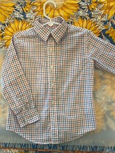 Janie And Jack Toddler Boys Button Down Red/Pink & Blue Check Shirt Size 4 4T