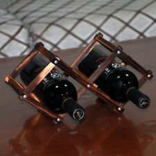 2 Pcs Wine Rack Folding 3 Bottles Holder Storage Pine Wooden Table Top Kitchen