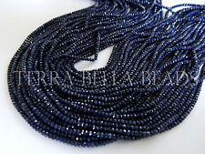 """13"""" AAA blue SAPPHIRE faceted precious gem stone rondelle beads 2mm - 2.5mm"""