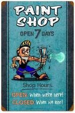 Hot Rod Paint Body Shop Hours Open Closed Metal Sign Man Cave Garage Club MLK113