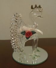 Beautiful Glass Peacock Figurine on Mirror Base VG