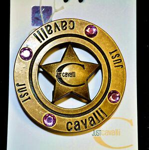 Vintage Just Cavalli authentic Buckle. Logo. Old gold metal. Swarovski crystals.