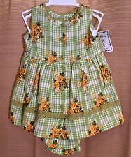 NWT Girls' CORNELLOKI April Size 0-6M Lime Green & Citron FLORAL Check DRESS $46