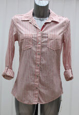 Size 22 Ladies Top Marks and Spencer Pure Cotton Shirt Pink Stripe Holiday