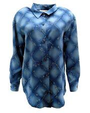 Susan Graver Stryle Womens Big Shirt S Small Button Down Blue Trellis Floral New