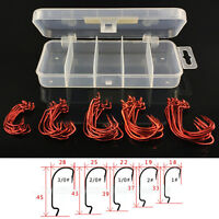 51 Pcs/Set Red Worm High Carbon Steel Fishing Hook For Texas Rig Soft Bait S Dz