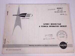 Vintage 1964 NASA Saturn I Rocket Apollo Moon Launch Vehicle Mission Plan Manual